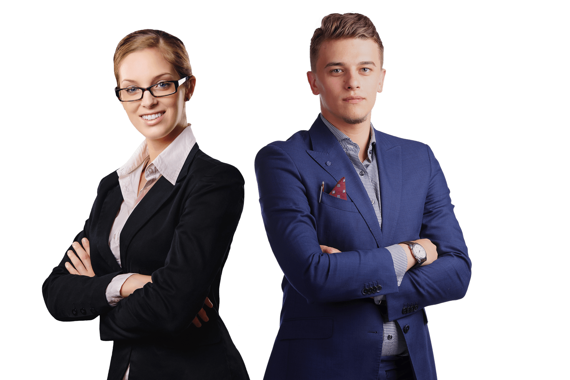 two businesspeople with arms folded
