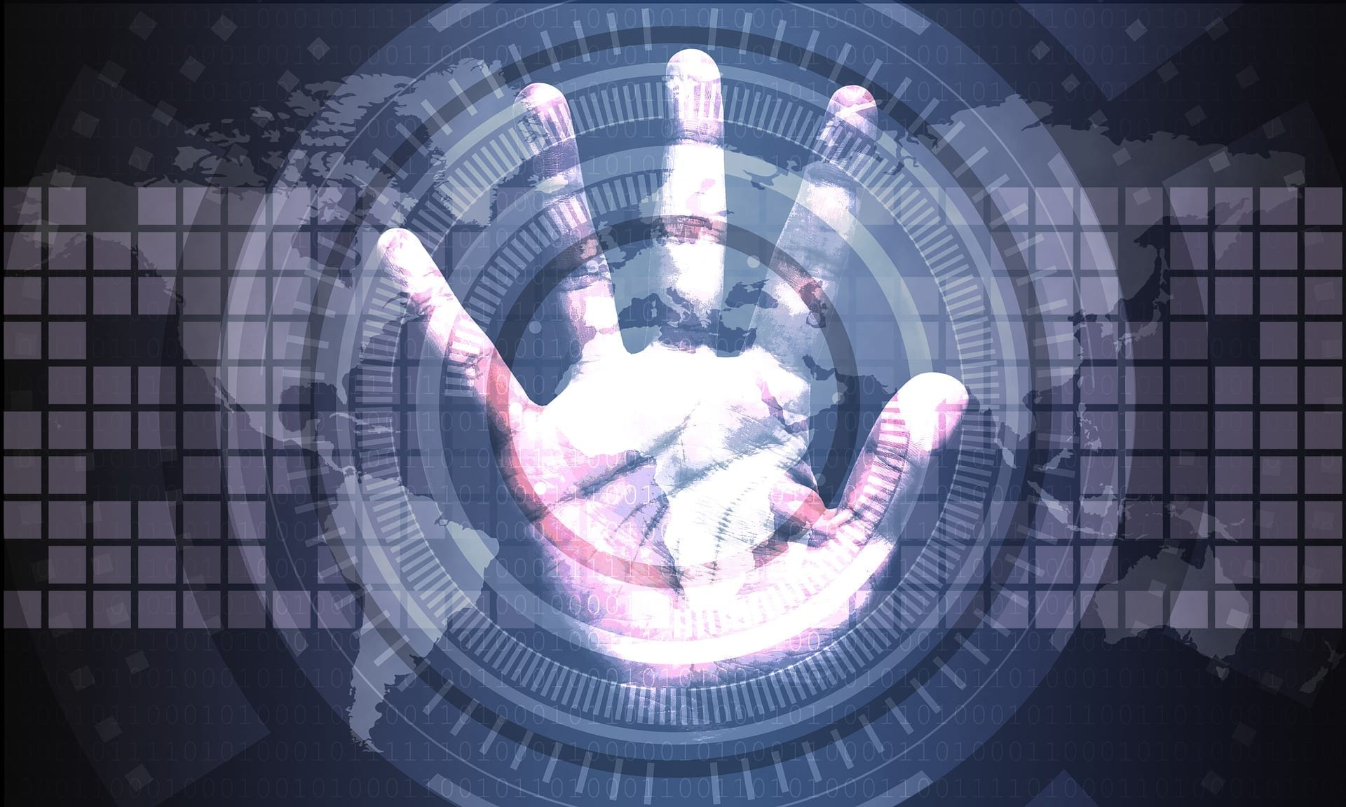 a image of a handprint relevant to cyber security