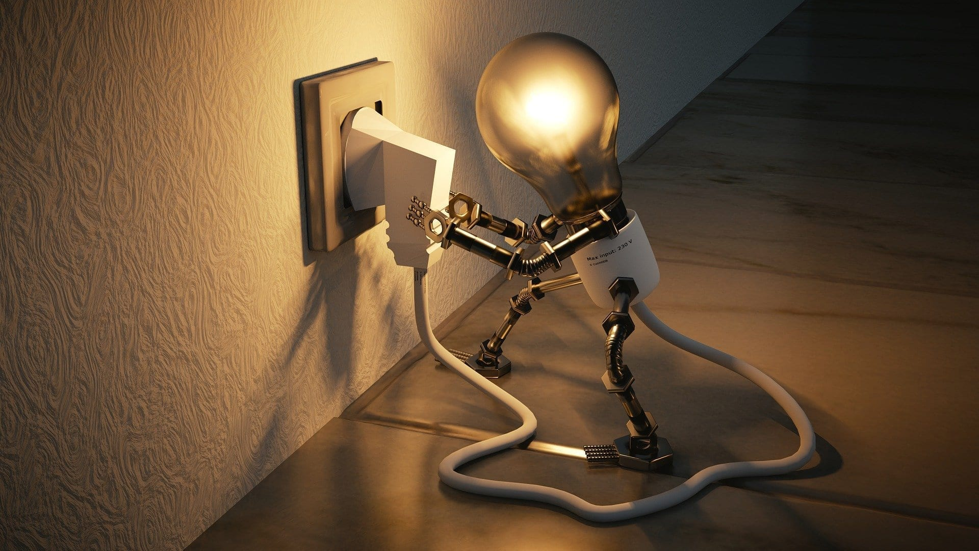 an image of a lightbulb robot plugging in a plug