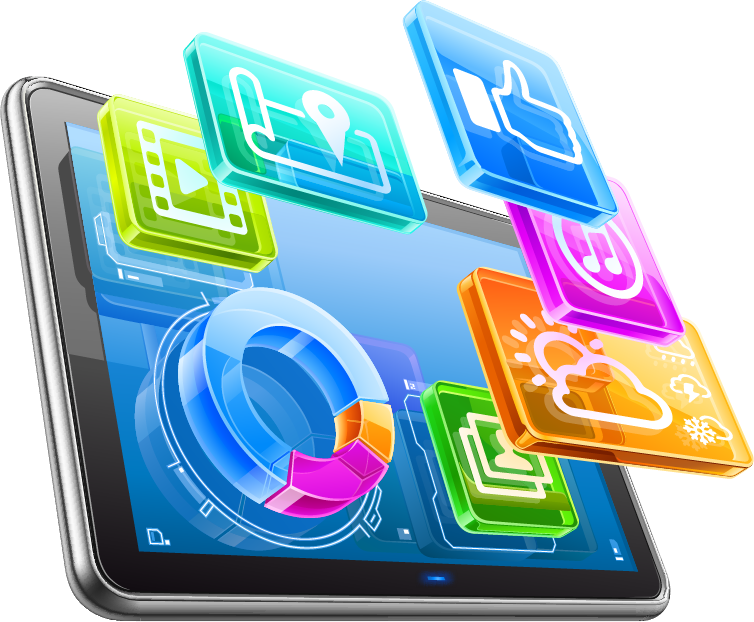 a colourful graphic of a tablet and social icons