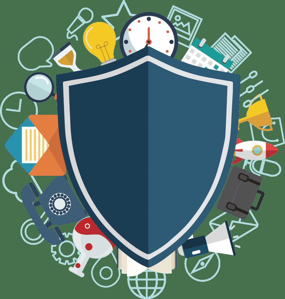 a shield diagram enforcing tech security