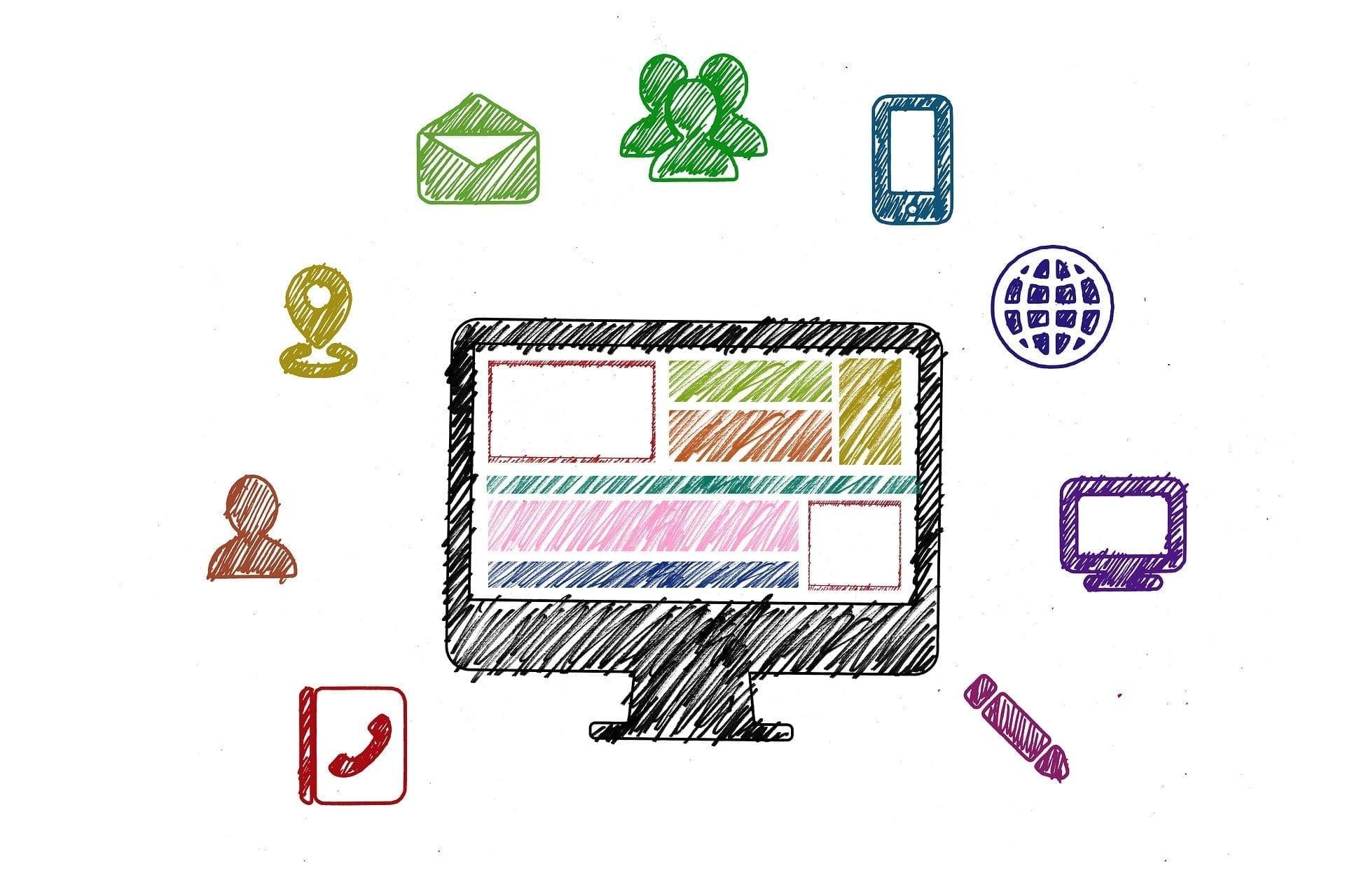 doodle diagram of various social media elements