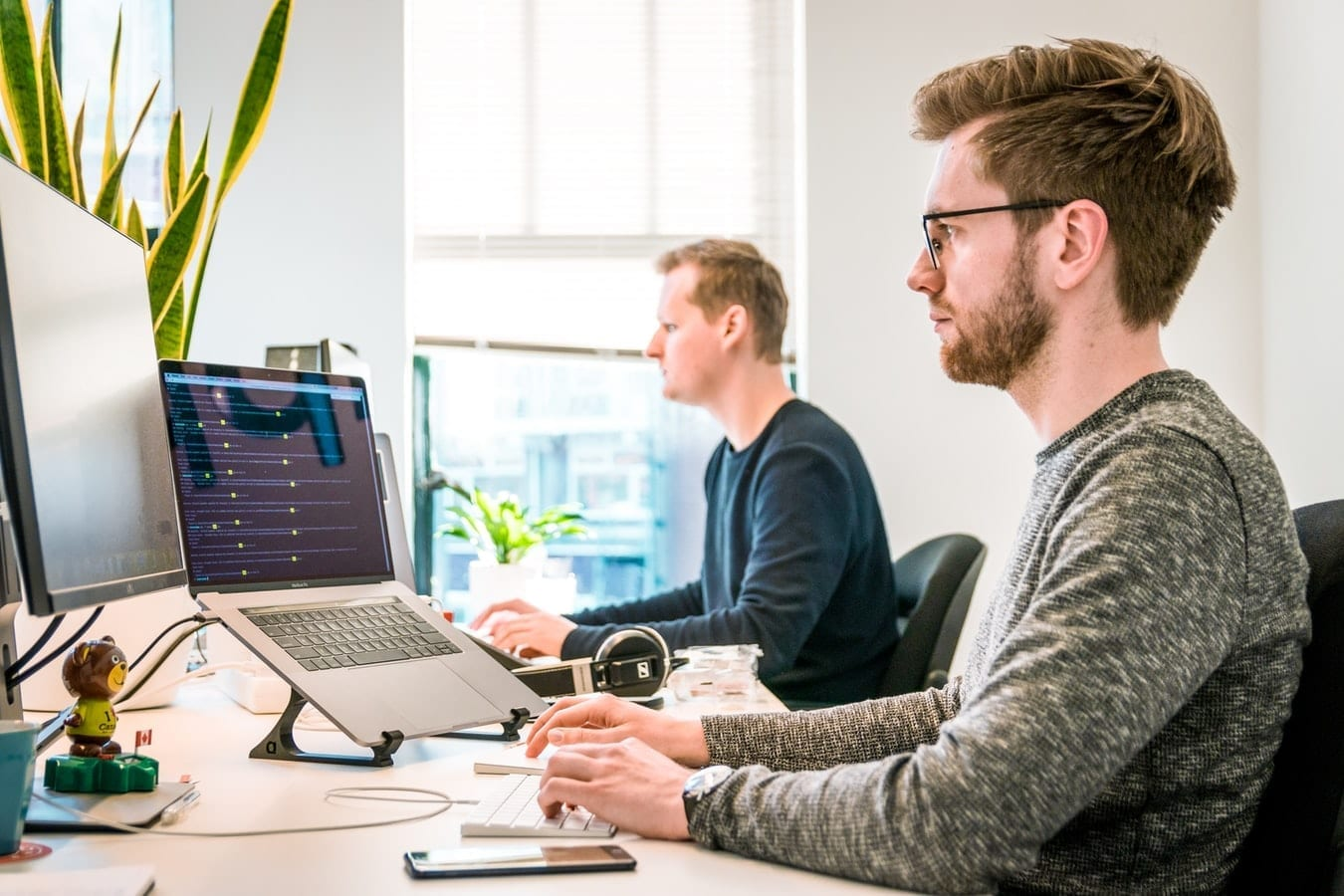 Two developers working in office on laptops
