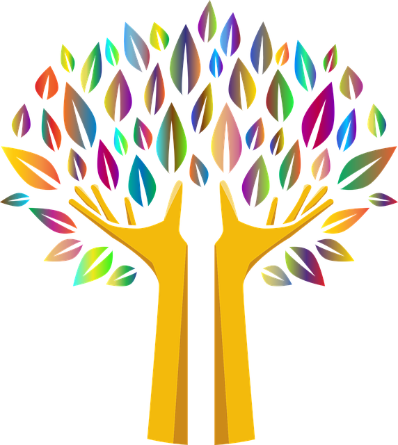 Colourful graphic of tree with leaves of multi-colours