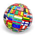 Graphic of world flags in a globe