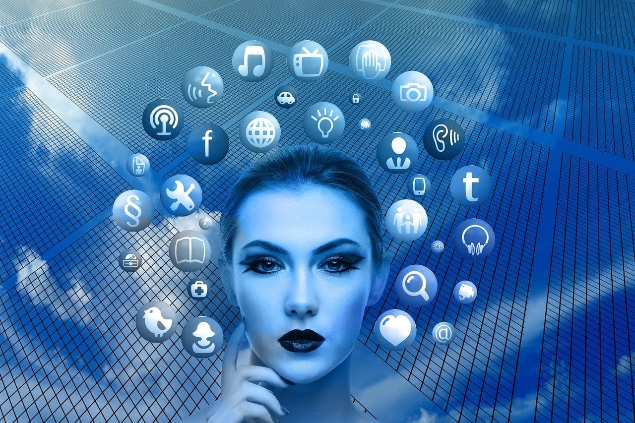 Graphic of woman surrounded with social media icons