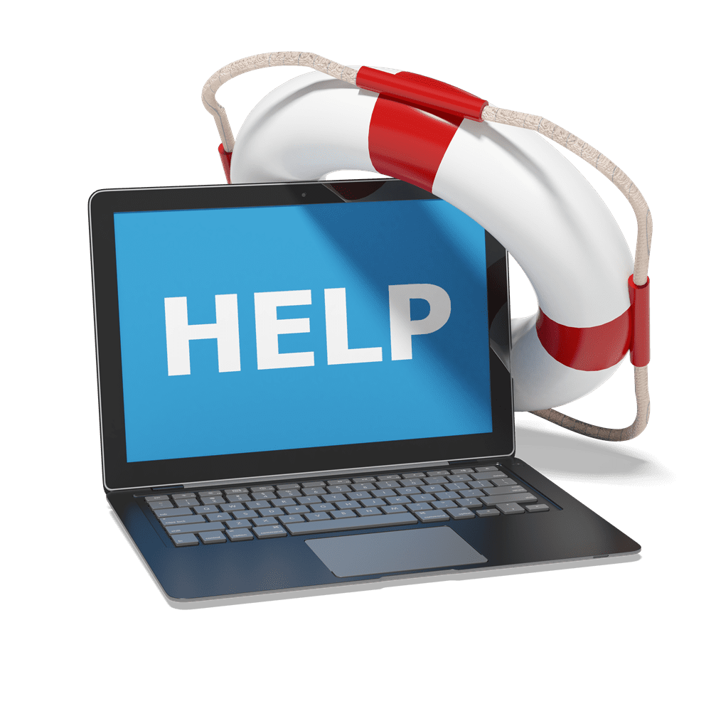 """graphic of a laptop with the word """"help"""" on screen with a lifebouy"""