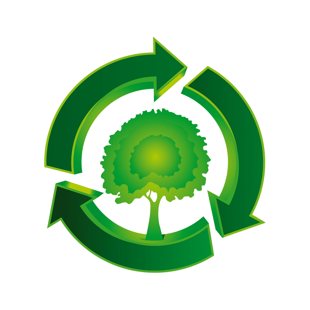 graphic of a tree within a green circle of arrow representing recycling