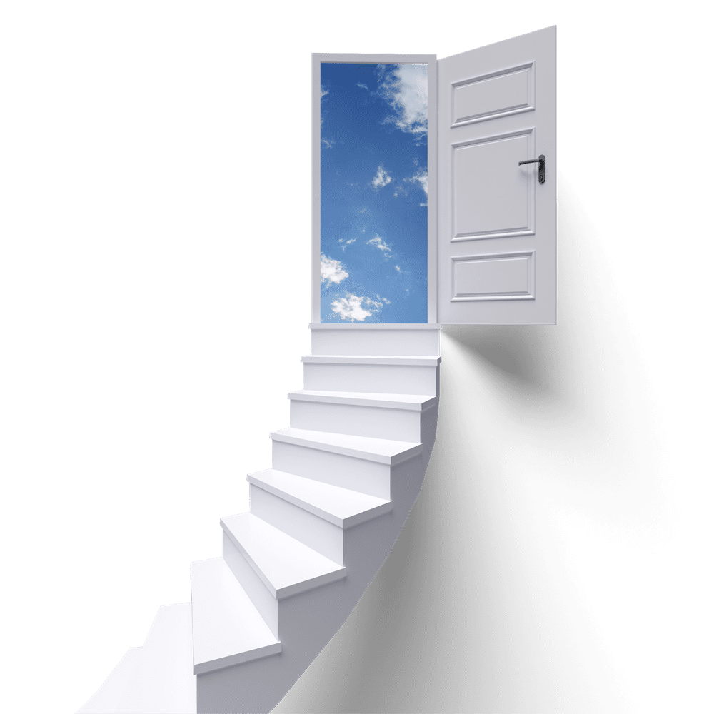 Staircase leading to open door showing pictures of clouds outside