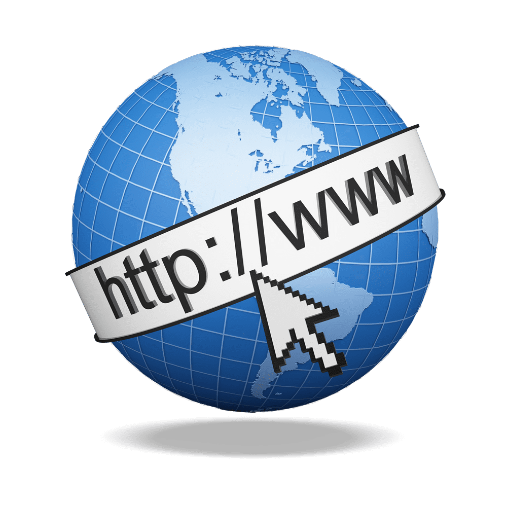 graphic of a globe with web address going around it