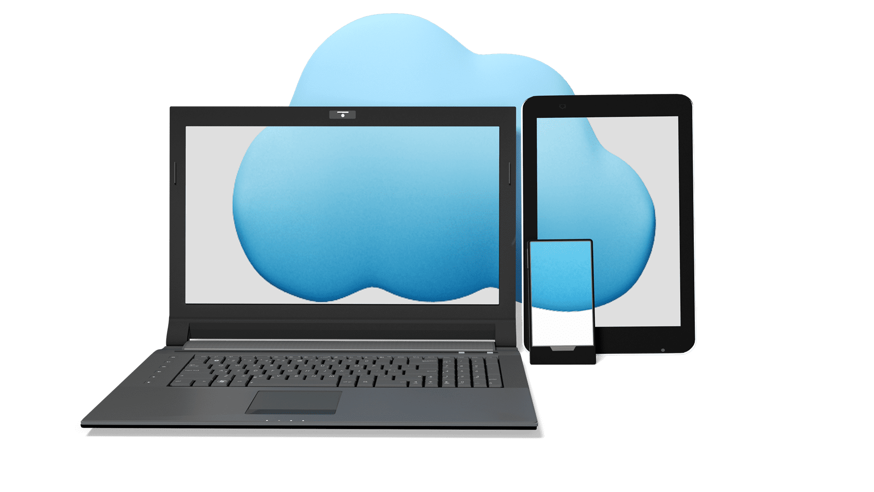Graphic of a laptop, table and phone with a single cloud covering all screens
